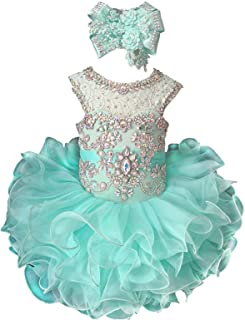 Baby Girl's Crystal Jewel Pageant Cupcake Dress Birthday Party Mini Gowns
