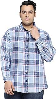 All Men's Checkered Regular fit Casual Shirt (1001883279_Indigo_44 cm 1)