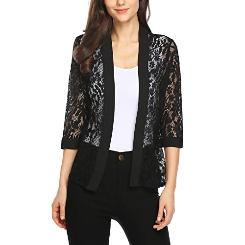 Grabsa Women s Casual 3 4 Sleeve Lace Open Front Cardigan 081546645