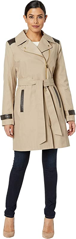 Asymmetrical Belted Trench with Faux Leather Detail