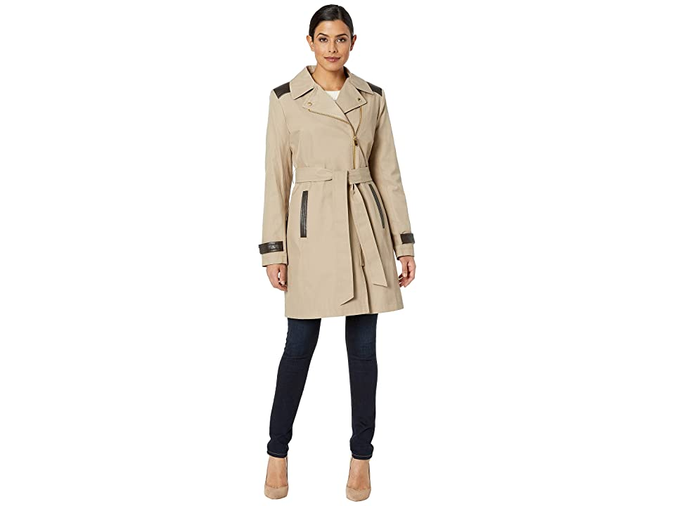 Via Spiga - Via Spiga Asymmetrical Belted Trench with Faux Leather Detail