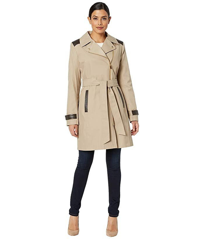 Via Spiga Asymmetrical Belted Trench with Faux Leather Detail (Sand) Women