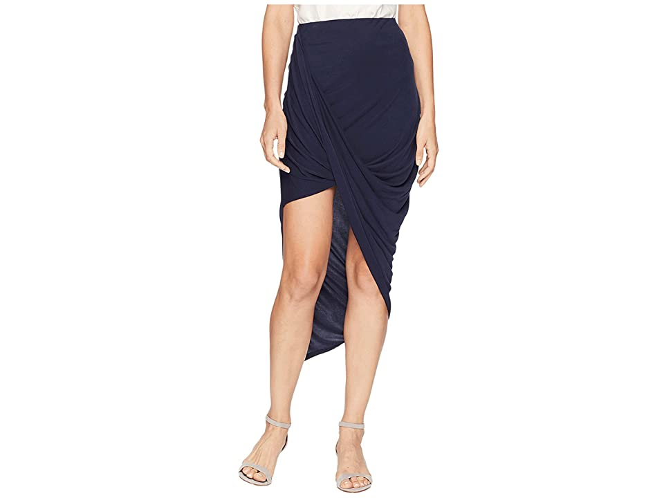 Image of 1.STATE Asymmetrical Wrap Skirt (Night Navy) Women's Skirt