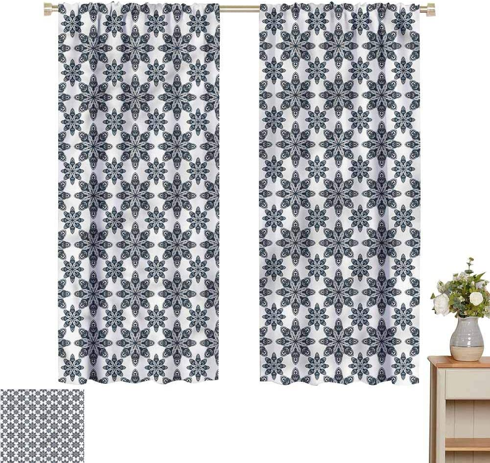DIMICA Backdrop Curtain for Bedroom Decor Sketchy Figure of Abstract Geometric Artful Form Sliding Curtains for Patio Decor W108 x L84 Inch