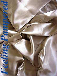 100% Mulberry Silk Charmeuse King Fitted Sheet in Champagne Deep Pocket