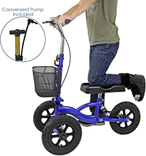 Clevr All Terrain Foldable Medical Steerable Knee Walker Scooter, W/Suspension, Deluxe Brake System & Basket, Walking Aid Roller for Foot Injuries, Height Adjustable Crutch Alternative