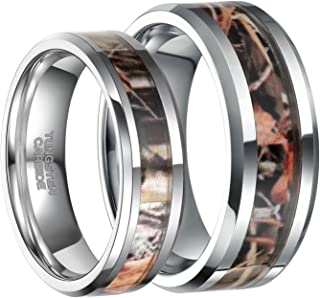 6mm 8mm Camo Wedding Bands for Men Women Hunting Tungsten Carbide Rings Comfort Fit Size 5-13
