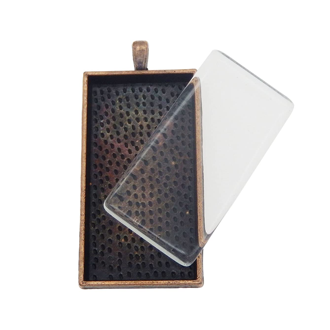 Julie Wang 10 Sets Large Rectangle Photo Setting Tray Pendant with Glass Cabochons Pendant Kit Set (Red Copper)