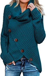 Womens Button Turtle Cowl Neck Asymmetric Hem Wrap...