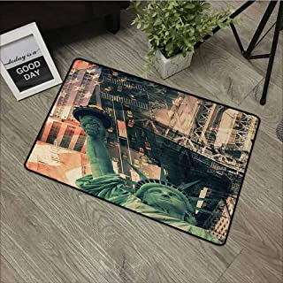 Wang Hai Chuan American Inlet Outdoor Door mat New York City Street Scenery Liberty Statue and USA Flag Freedom Torch Illustration Catch dust Snow and mud W35.4 x L47.2 Inch Red Grey