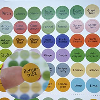 Essential Oil Bottle Cap Labels 384 Cap Stickers Blends + Blanks for ml Roller Bottles, Aromatherapy Set,Perfect Lid Stickers to Keep Your Doterra/Young Living Oils Organized