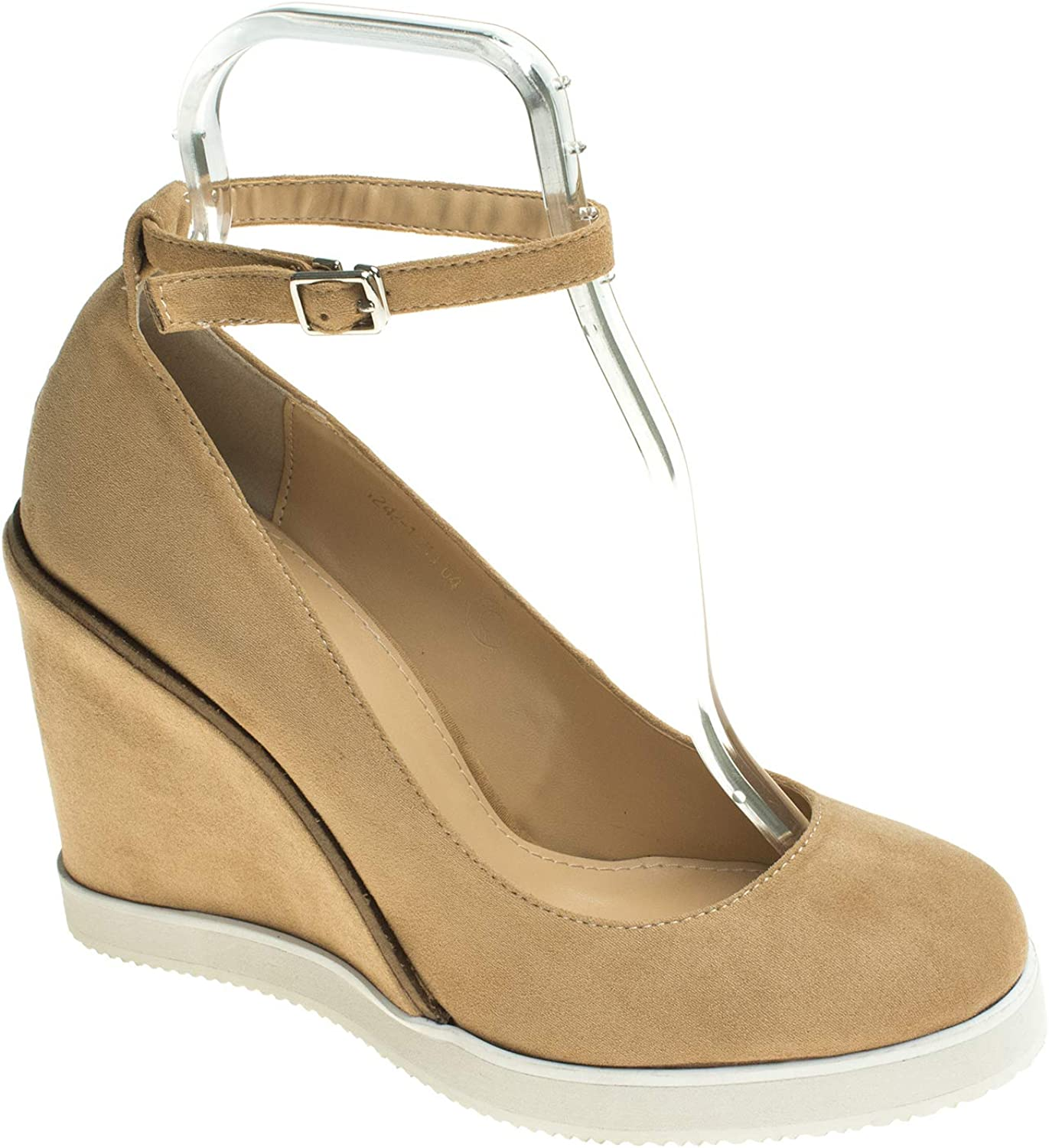 AnnaKastle Womens Vegan Suede Round Toe Ankle Strap Wedge Pumps