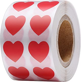 Boao 1200 Pieces Red Heart Stickers Valentine's Day Crafting Scrapbooking, Adhesive Label Hearts Sticker Roll (1/2 Inch 12...