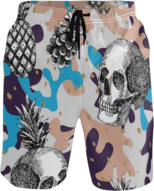 Pineapple Swim Trunks Men Funny, Fun Swim Trunks Guys Board Shorts,Skull Pineapple Camouflage AT270