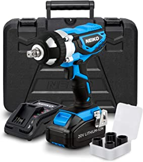 Best Neiko 10878A 20 V Lithium-Ion Cordless Impact Wrench with Li-Ion Battery, Fast Charger and Socket Adapters Set | 1/2-Inch Square Drive Review