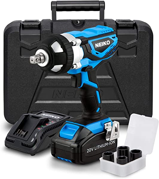 Neiko 10878A 20 V Lithium Ion Cordless Impact Wrench With Li Ion Battery Fast Charger And Socket Adapters Set 1 2 Inch Square Drive