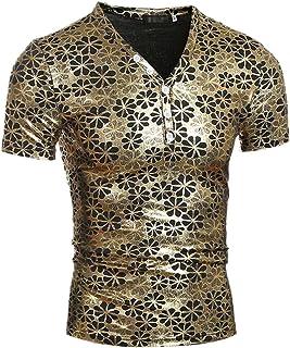 WSPLYSPJY Men's Shiny Metallic Underwear Club Wear Short Sleeve T Shirt Tops