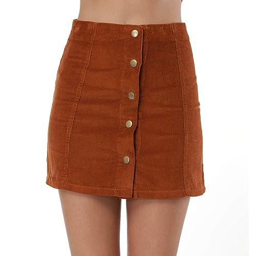 452f26b62103 Clarisbelle Women s High Waist Suede Button Closure A-Line Mini Skirt