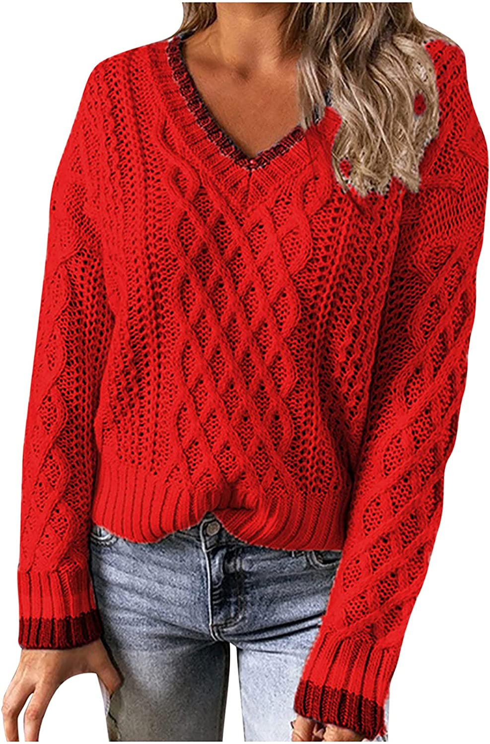 Women V Neck Cable Knit Sweaters,Long Sleeve Lightweight Trendy Vintage Tops,Solid Office Oversized Pullover for Work