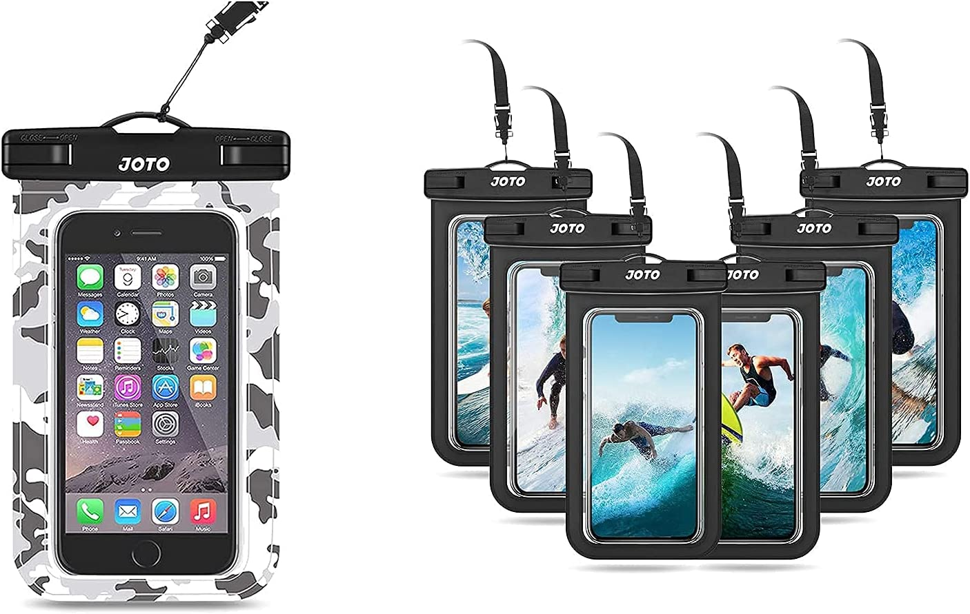 JOTO Universal Waterproof Pouch Cellphone Dry Bag Case Bundle with [6 Pack] Universal Waterproof Pouch for Phones up to 7.0