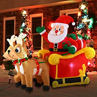 Joiedomi Christmas Inflatable Decoration 6 FT Santa Claus on Sleigh with Build-in LED Blow Up Self-Inflatable for Christma...