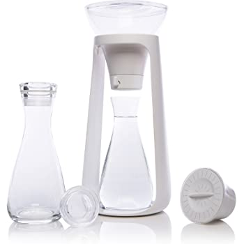 KOR WATER Fall I Sustainable Countertop Water Filter System I Includes 2 Glass Pitchers w/Lids I Holds 2 Liters I 68 Oz I Perfect for Fruit, Vegetable, and Herb Infused Water I Purifies up to 80 Gall
