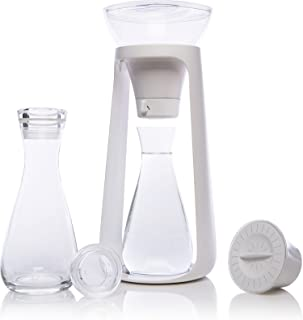 KOR Water Fall I Sustainable Countertop Water Filter System I Includes 2 Glass Pitchers w/Lids I Holds 2 Liters I 68 Oz I ...