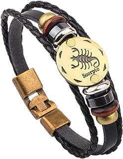 Delicate:Fashion Vintage Leather 12 Constellations Bracelets Men Jewelry Brand Braided Black Zodiac Casual Punk Rock Bracelets & Bangles