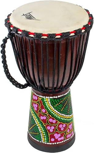AKLOT Tambour Djembe 50cm tambour africain Bongo Congo tambour sculpté à la main Peau de Chèvre Acajou Massif pour En...