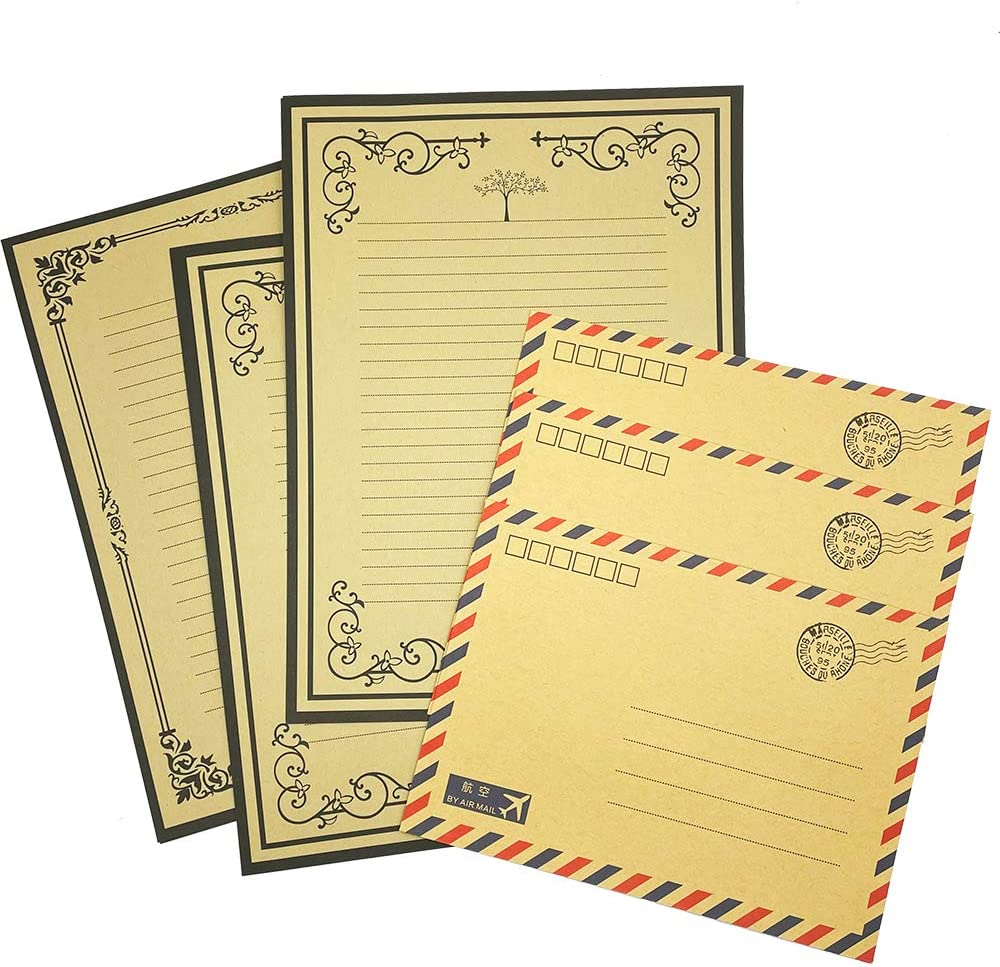 Letter writing set made with vintage papers