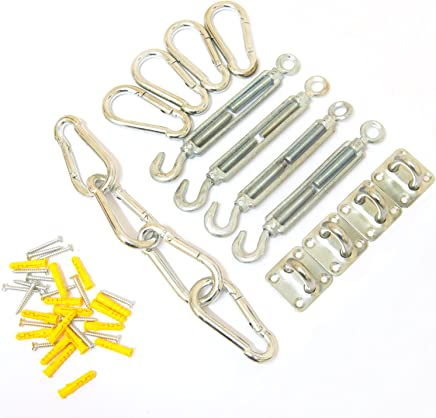 Woodside 4 Piece Galvanised Steel Sun Sail Shade Fixing Accessory Kit, Includes 4 x Turnbuckles, 4 x Pad Eyes, 8 x Snap Hooks, Wall Fixings