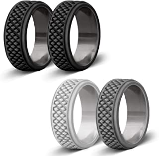 Silicone Wedding Ring for Men, Affordable Rubber Wedding Bands for Gym Sports Leisure Work, Classic & Crosshatch Rings
