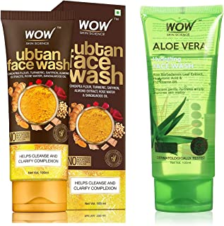 WOW Skin Science Ubtan Face Wash & Sandalwood Oil & WOW Skin Science Aloe Vera With Hyaluronic Acid and Pro Vitamin B5 Hyd...