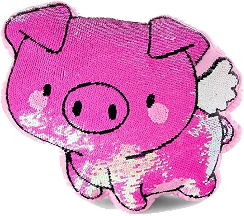 Justice Flying Pig Flip Sequin Pillow