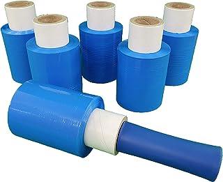 6x Mini Rollen 10 cm Stretchfolie 23 my  Abroller blau