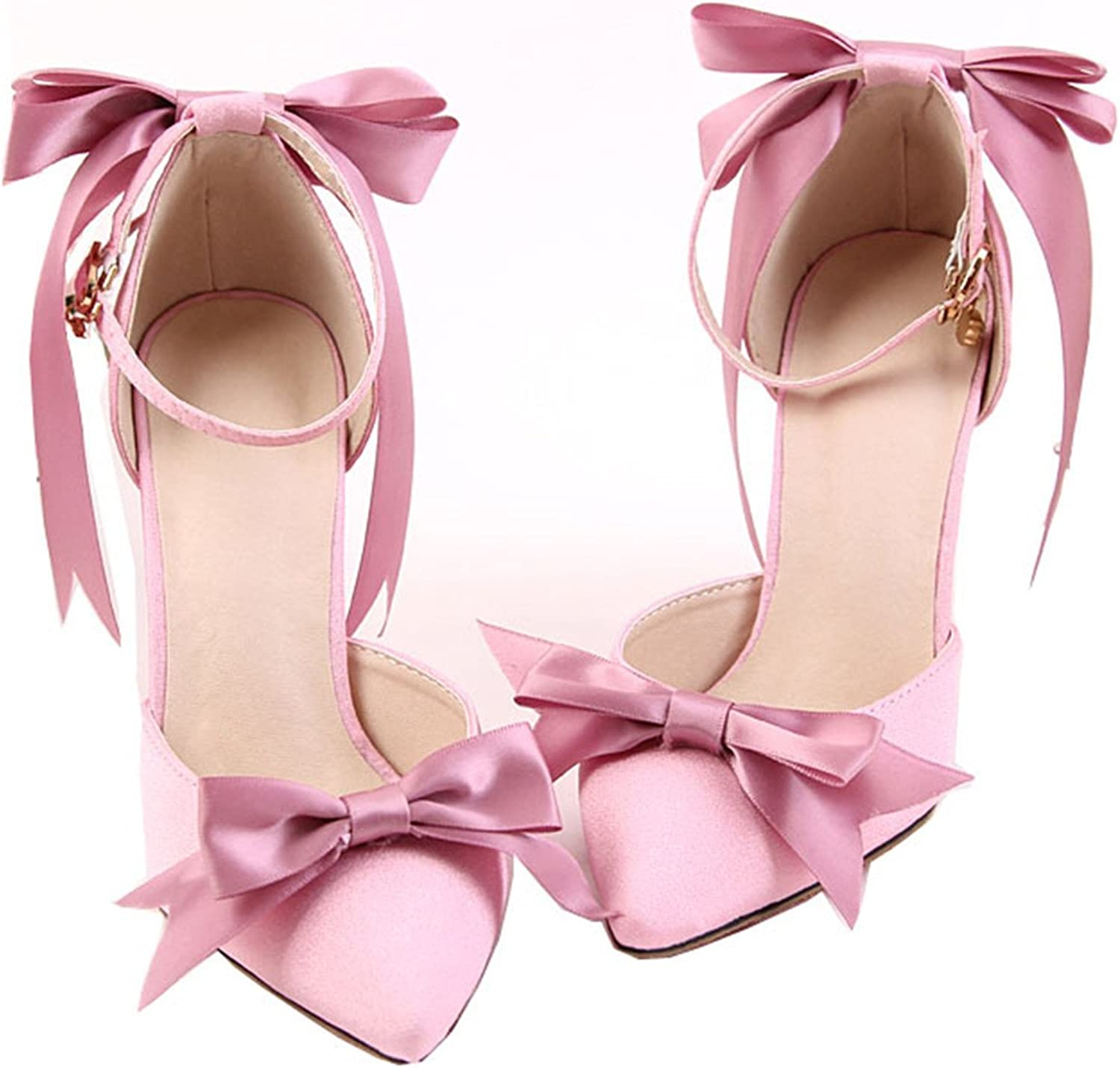 Eairouquji Beautiful Pink Satin Bow shoes Ultra fine Bride high-Heeled shoes Dress shoes Sandals