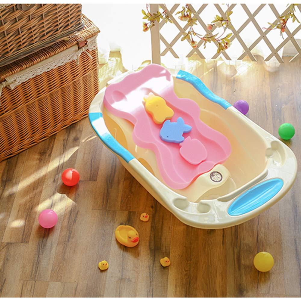 Baby Infant Bath Sponge Baby Bath Mat Newborn Cushion, Pink