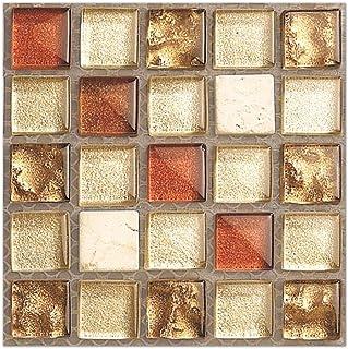 MISIXILE Mosaic Tile Sticker for Kitchen & Bathroom Backsplash Red Crystaln Pattern Mosaic Tile Sticker Decals 4x4 Inch (20pcs/Set)