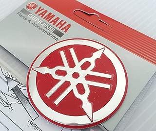 Yamaha 1YC-F313B-Q3-RE - Genuine 55MM Diameter Yamaha Tuning Fork Decal Sticker Emblem Logo Red / Silver Raised Domed Metal Alloy Construction Self Adhesive Motorcycle / Jet Ski / ATV / Snowmobile