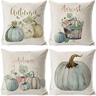 4 pack Autumn Winter Decorations Pumpkin Throw Pillow Cover Cushion Couch Cover Pillow Cases for Autumn Christmas Thanksgi...