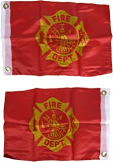12x18 Fire Dept. Department Emblem Red 2ply Double Sided 12
