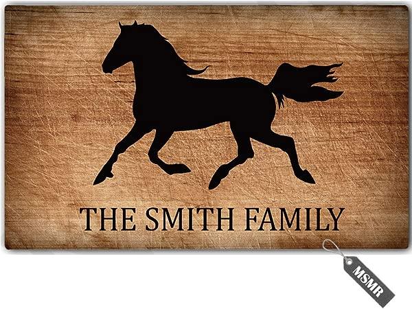 MsMr Personalized Your Name Door Mat Indoor Outdoor Custom Doormat Decorative Home Office Welcome Mat Horse Doormat 23 6 X15 7