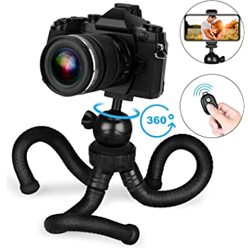 Ginrly Camera Phone Tripod Flexible Tripod Waterproof,with Bluetooth Remote 360/° for iPhone Samsung Android Phones Desktop Phone Holder