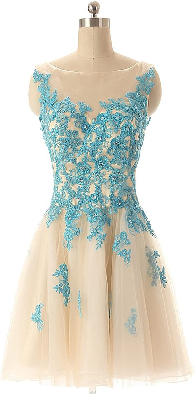 Vampal Champagne Sleeveless Sheer Illusion ALine Short Mini Homecoming Dresses