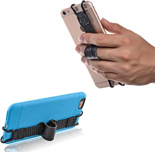 TFY Security Hand Strap with Leather Belt Holder Stand Compatible with iPhone Xs Max Xs XR / 8/8 Plus 6 / 6S (Plus) 7/7 Plus - Samsung Galaxy S10 / S10 Edge - Huawei Mate 10/20 Pro and More
