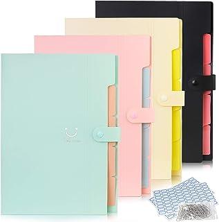 حزمة من 4 قطع من ملف التوسيع مع 5 جيوب منظم الوثائق حجم A4 مجلدات الأكورديون لطيف لوازم المكتب المدرسية (مجموعة B)