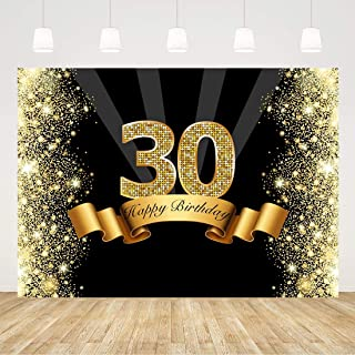 30th Birthday Backdrop for Men Black and Gold 30 Birthday Background for Women 7x5ft Glitter 30th Birthday Backdrops for Party 30 Years Old Decorations 30th Birthday Photo Booth Props Party Favors