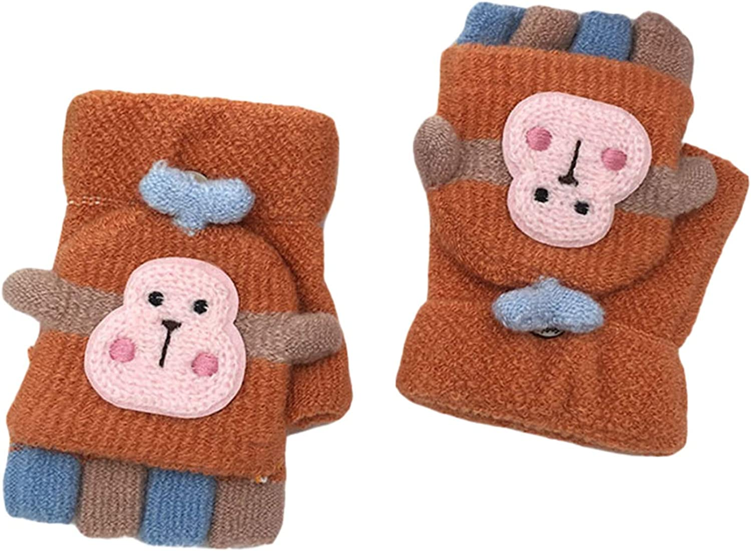 Girls Convertible Mittens, Monkey Knitted Thermal Chunky Kids Cold Weather Gloves for Holiday