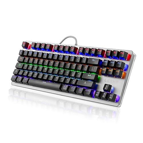 LESHP Teclado Mecánico Gaming con Disposición Española (retroiluminación LED de 6 colores, 88 teclas
