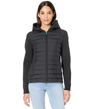 Save the Duck Karla REMI Recycled Poly Mixed Media Hooded Zip-Up Jacket (Black) Women